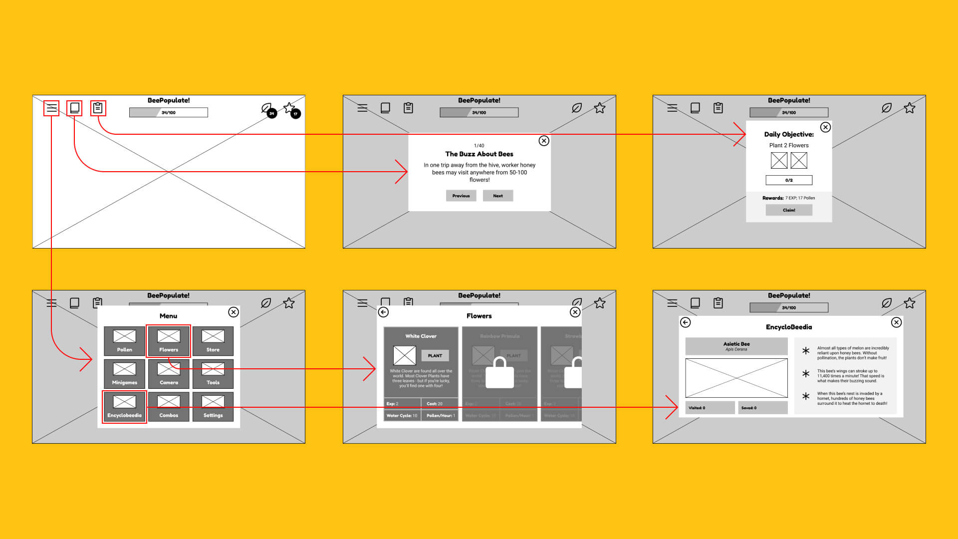 Wireframes showing some of the FTUE flow