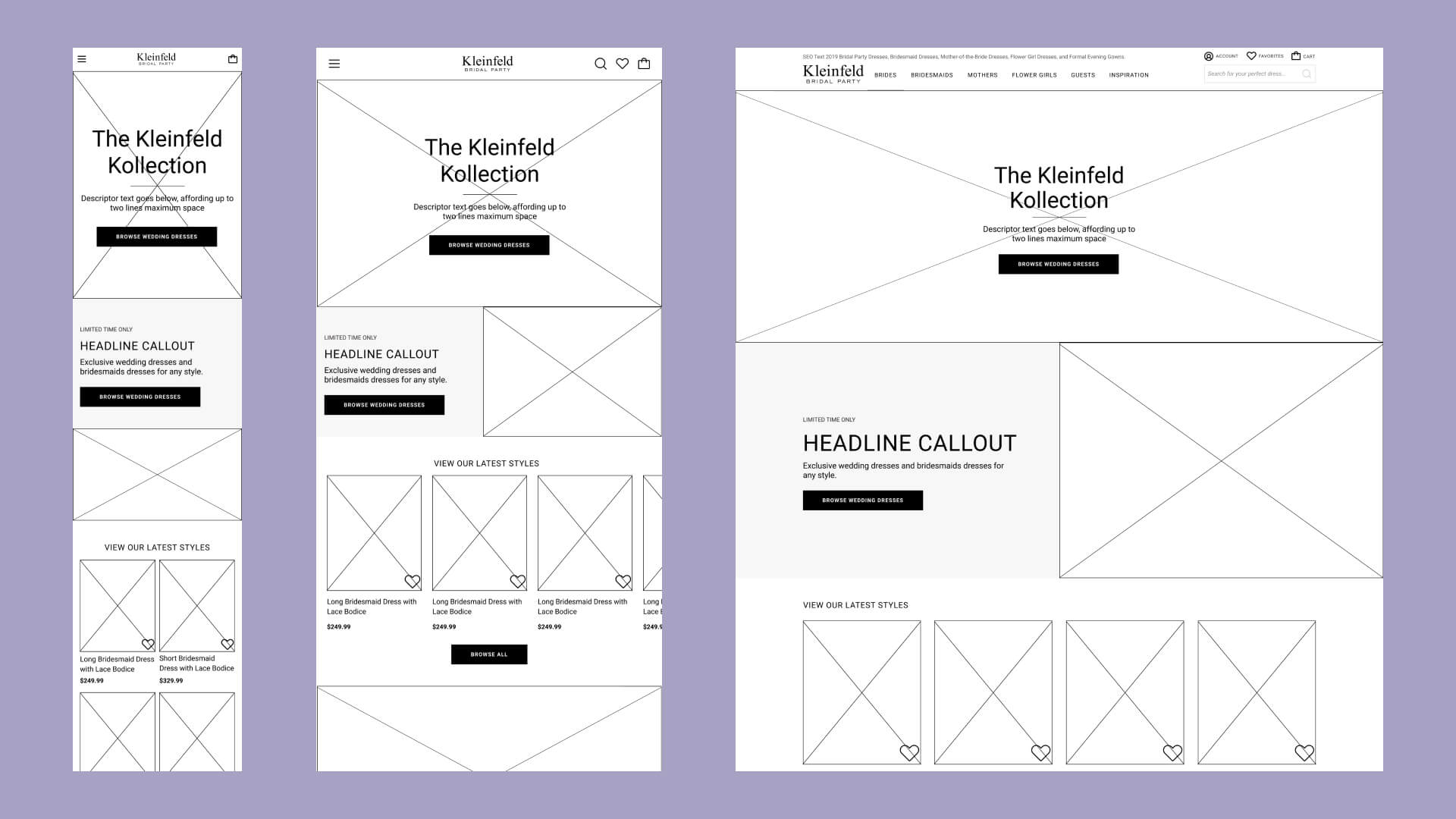 Wireframes of the KBP homepage in mobile, tablet, and desktop