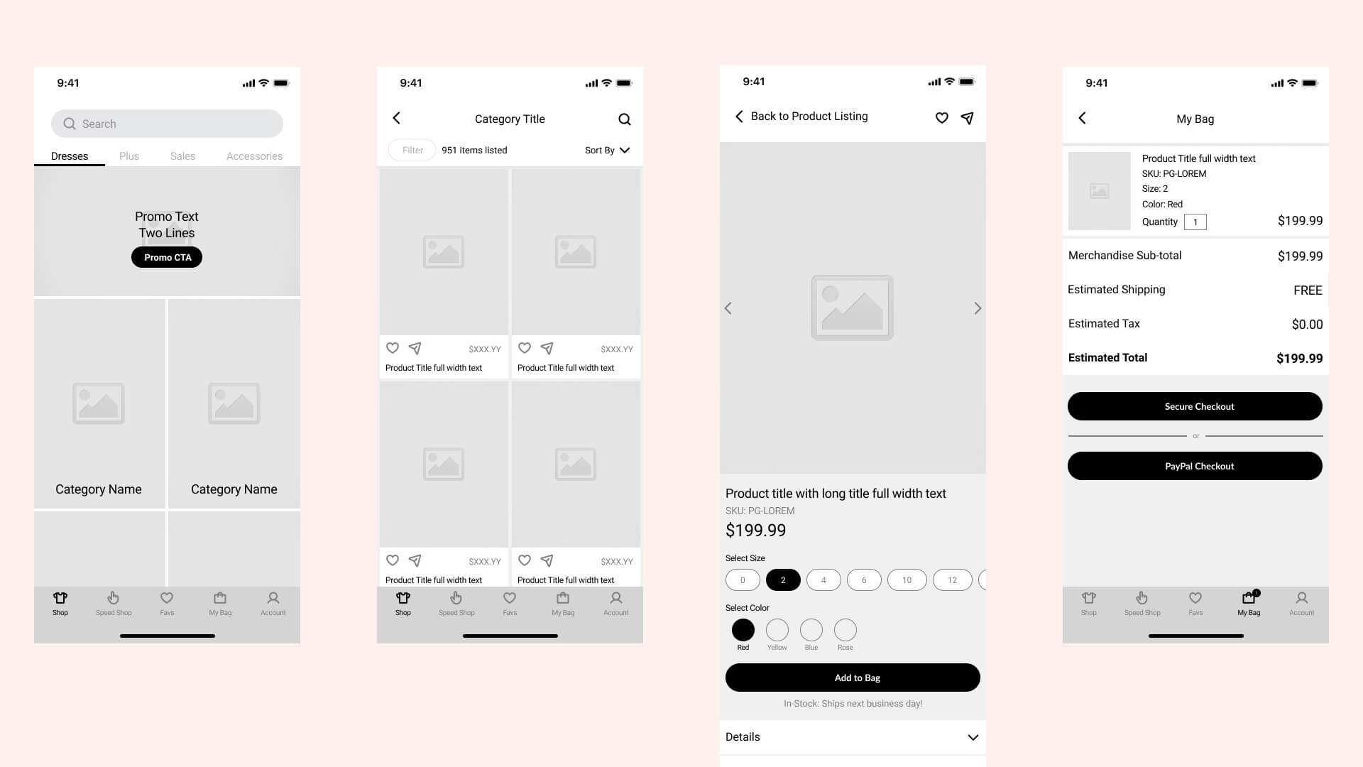 Image of wireframes designed for the PromGirl app
